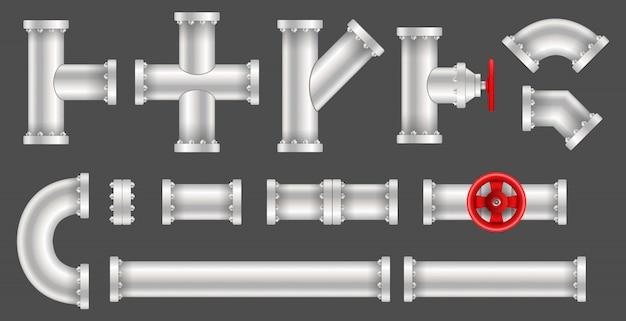 Kunststof water, olie, gasleiding, riolering. Premium Vector