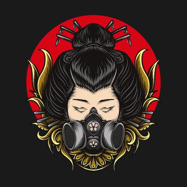 Kunstwerk illustratie en t-shirt gasmasker geisha gravure ornament Premium Vector