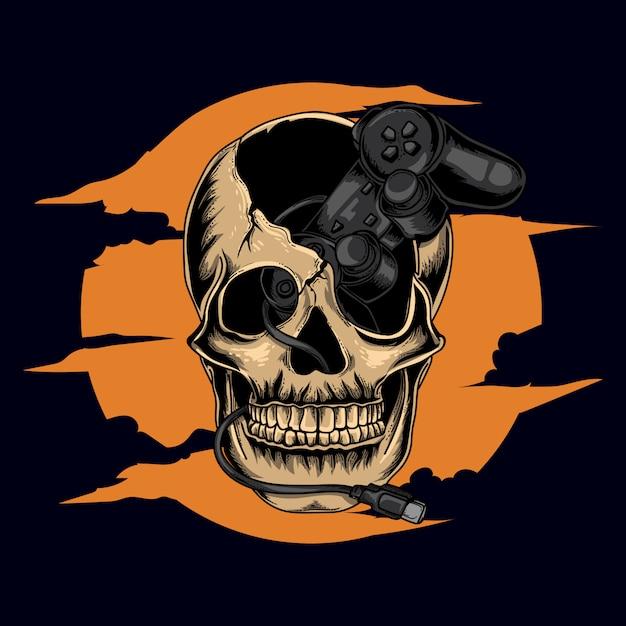 Kunstwerk illustratie en t-shirt ontwerp menselijke menselijke schedel met controller spel Premium Vector