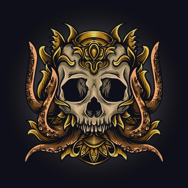 Kunstwerk illustratie en t-shirt ontwerp octopus schedel Premium Vector
