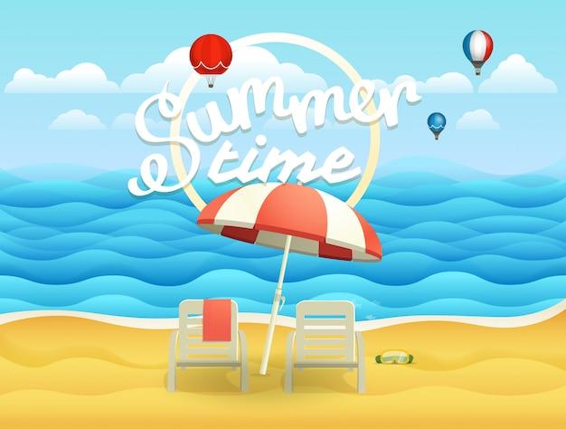 Kust vectorillustratie met paraplu. strandlandschappen Premium Vector