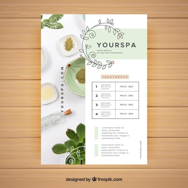Kuurcentrum-flyer met informatie over behandelingen in vlakke stijl Gratis Vector