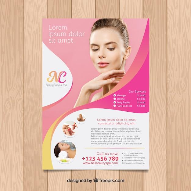 Kuurcentrum-flyer met verschillende behandelingen om te ontspannen Gratis Vector