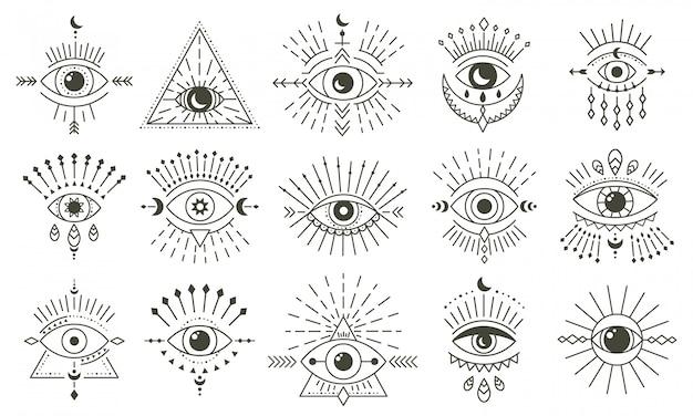 Kwaad doodle oog. hand getrokken magische hekserij oog talisman, magische esoterische ogen, religie heilige geometrie symbolen illustratie pictogrammen instellen. amulet talisman, diverse gelukssouvenirs Premium Vector