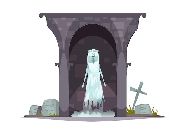 Kwaad kerkhof spook cartoon karakter samenstelling met enge geest uiterlijk in grim achtervolgd begraafplaats graf Gratis Vector
