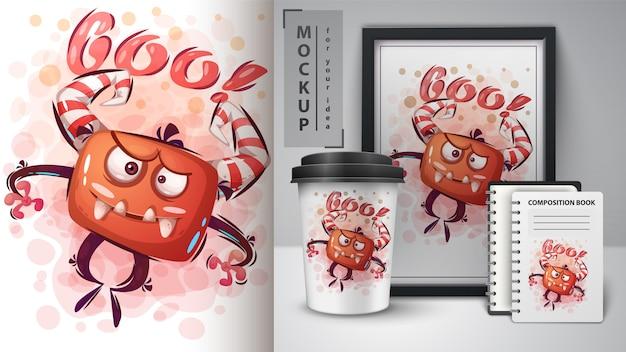 Kwaad monster poster en merchandising Premium Vector
