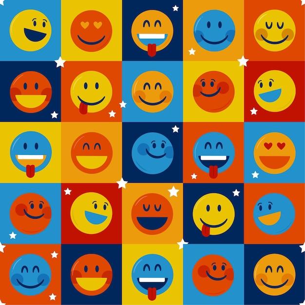 Kwadraat emoticons patroon sjabloon Premium Vector