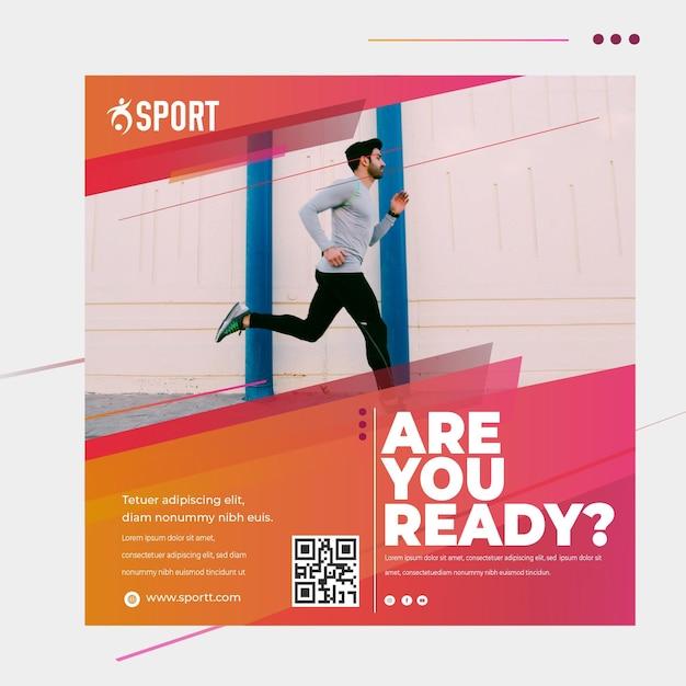 Kwadraat flyer-sjabloon voor sportactiviteiten Gratis Vector