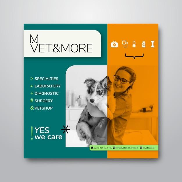 Kwadraat flyer sjabloon voor veterinaire zaken Gratis Vector