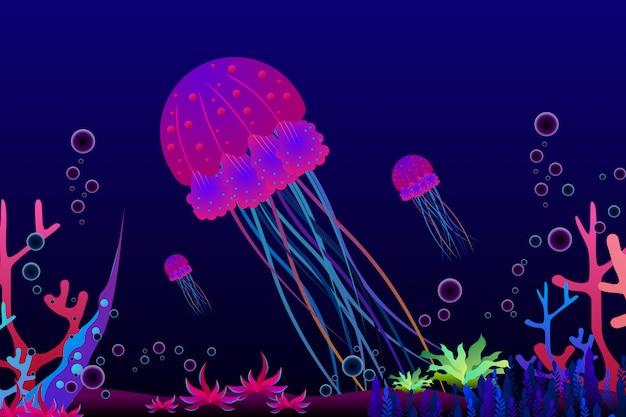 Kwallen met mooi koraal onder de overzeese illustratie Premium Vector