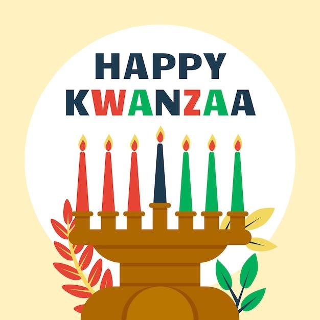 Kwanzaa-evenement met geïllustreerde kandelaar Gratis Vector