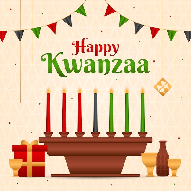 Kwanzaa-evenement met illustratie van kandelaars Gratis Vector