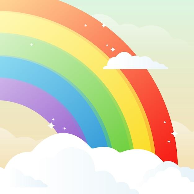 Kwart regenboog en wolken Gratis Vector