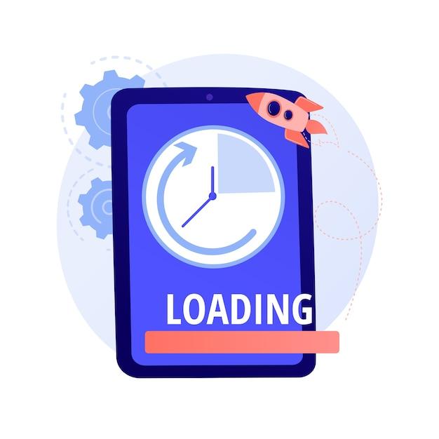 Laadsnelheid boost. snelle internetbrowser, moderne online technologie, versnelde downloadtijd. optimalisatie van smartphoneprestaties, verbetering concept illustratie Gratis Vector