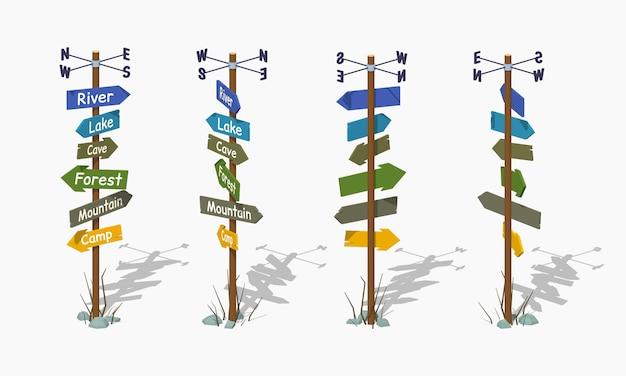 Laag poly houten wegwijzer met de kleurrijke pijlen Premium Vector