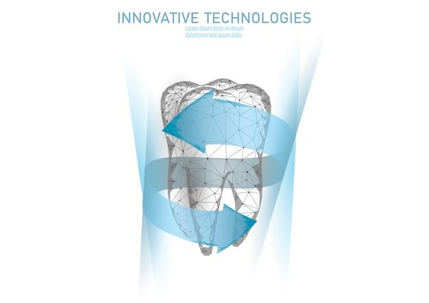 Laag poly tandbescherming medisch concept. Premium Vector