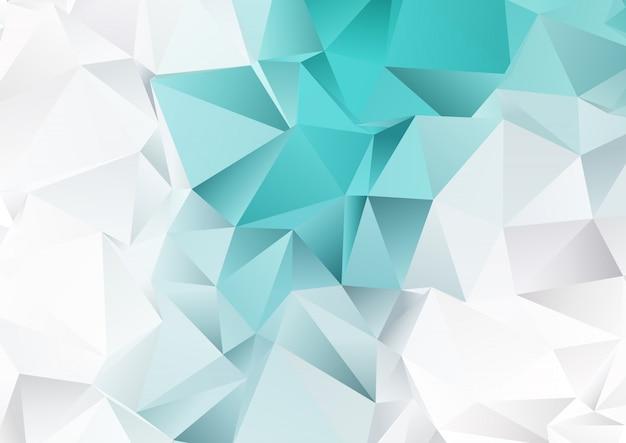Laag polyontwerp met groenblauw en zilveren kleuren Gratis Vector