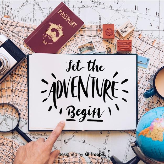 Laat het avontuur beginnen Gratis Vector