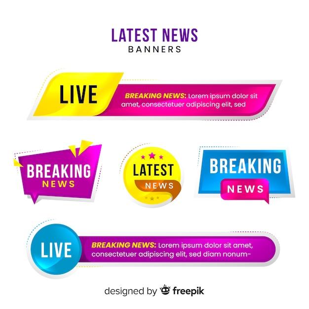 Laatste nieuws banner collectie Gratis Vector