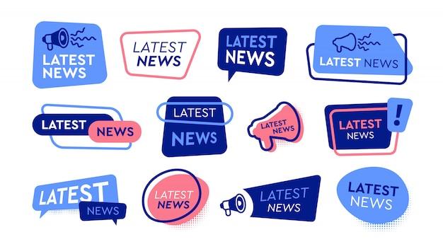 Laatste nieuwslabels platte pictogramserie Gratis Vector