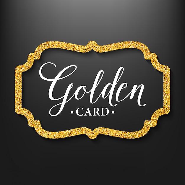 Label frame silhouet op de gouden glitter Premium Vector
