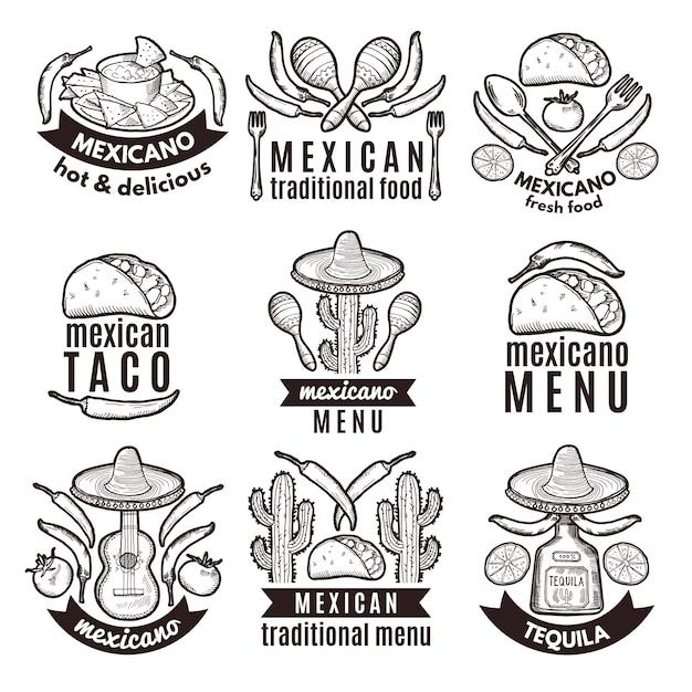 Label set met traditionele mexicaanse symbolen. voedselemblemen voor restaurantmenu Premium Vector