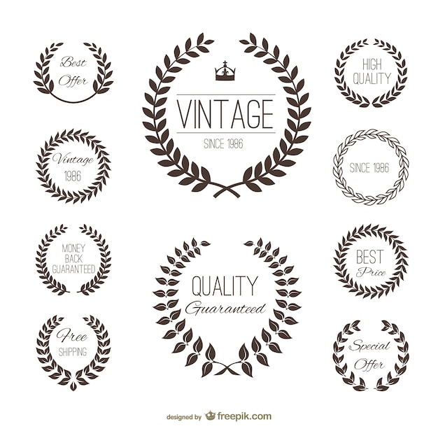 Label tarwe silhouet set Gratis Vector