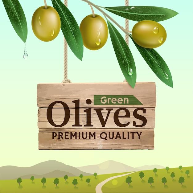 Label van groene olijven met realistische olijftak op zomer landschap Premium Vector