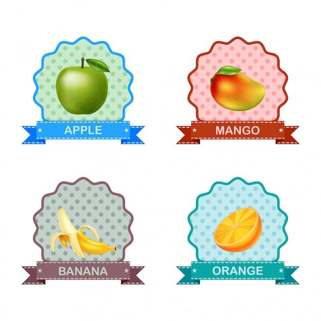 Label voor fruit Premium Vector