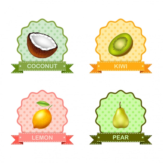 Label voor fruit Premium Vector