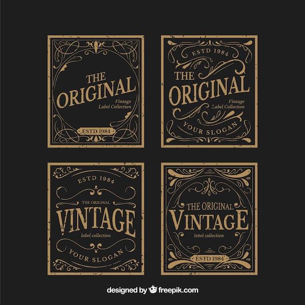 Labelcollectie met vintage stijl Gratis Vector