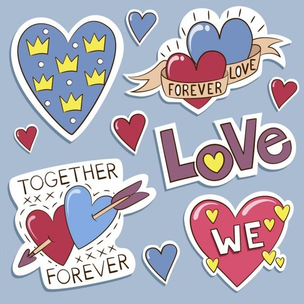 Labels liefde collectie Gratis Vector