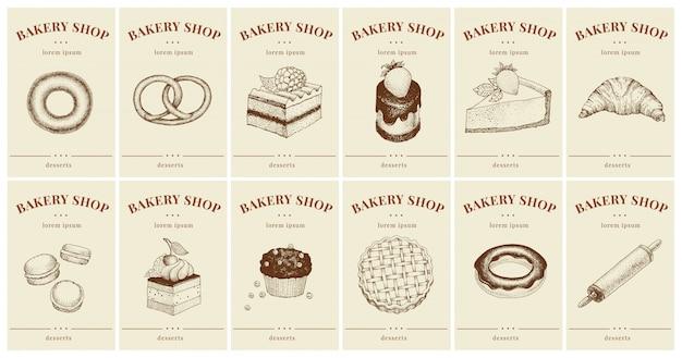Labels met gebak en desserts. sjablonen prijskaartjes instellen voor bakkerijwinkel Premium Vector