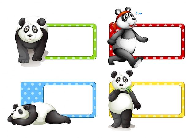 Labels ontwerpen met panda's illustratie Gratis Vector