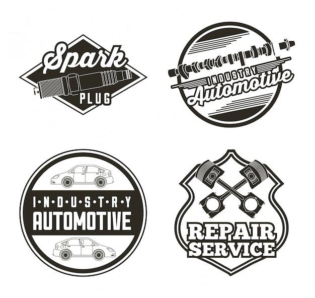 Labels voor auto-industrie in de industrie Gratis Vector