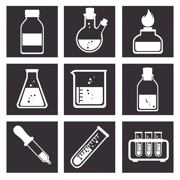 Laboratorium hulpmiddelen buis pictogrammen ontwerp Gratis Vector