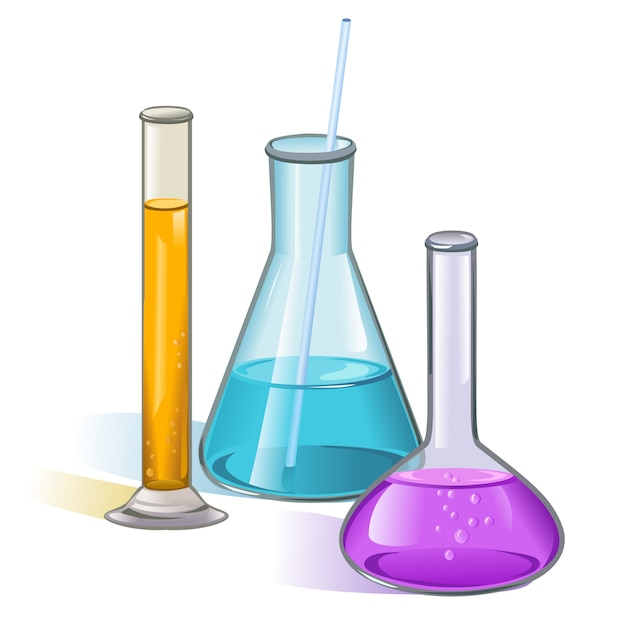 Laboratorium kolven glaswerk concept Gratis Vector