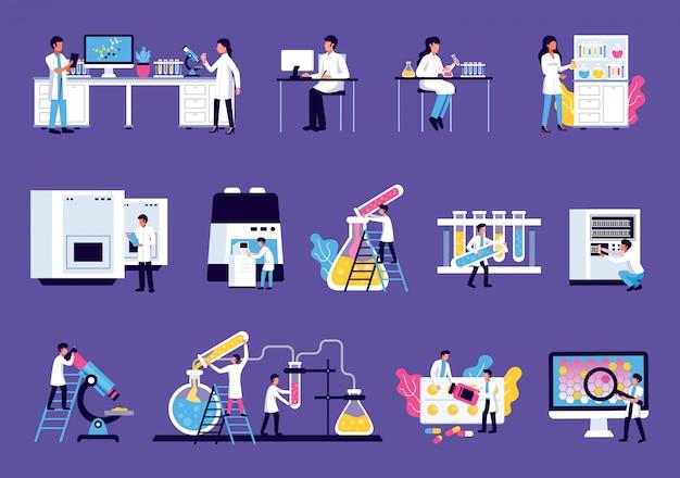Laboratorium set met geïsoleerde afbeeldingen van meubilair van laboratoriumapparatuur met kleurrijke vloeistoffen en wetenschappers menselijke karakters Gratis Vector