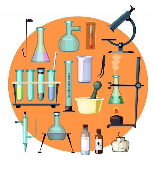 Laboratoriumapparatuur vastgestelde illustratie Gratis Vector