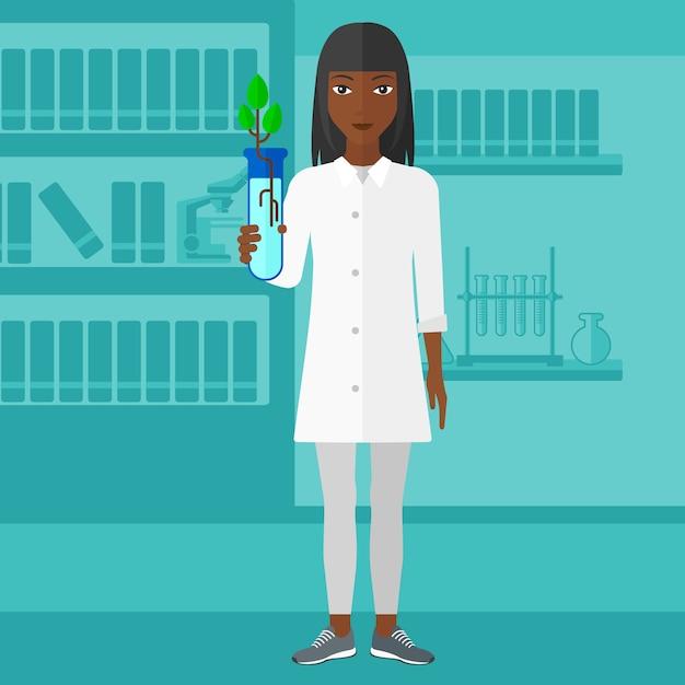 Laboratoriumassistent met reageerbuis. Premium Vector