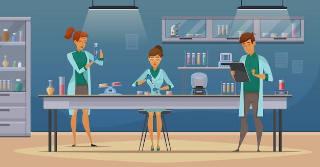 Laboratoriumassistenten werken in wetenschappelijke medisch-chemische of biologische experimenten met laboratoriuminrichtingen Gratis Vector