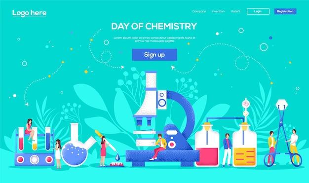 Laboratoriumconcept-flyer, webbanner, ui-koptekst, site invoeren. mensen karakter met items rond laboratorium. korrelstructuur en ruiseffect. Premium Vector