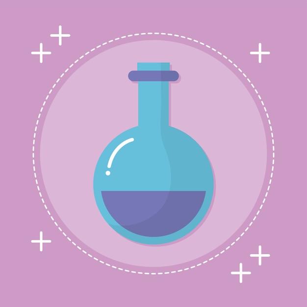 Laboratoriumfles met purpere vloeistof op roze illustratieontwerp Premium Vector