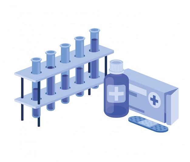 Laboratoriuminstrumenten met geneesmiddelen op wit Premium Vector