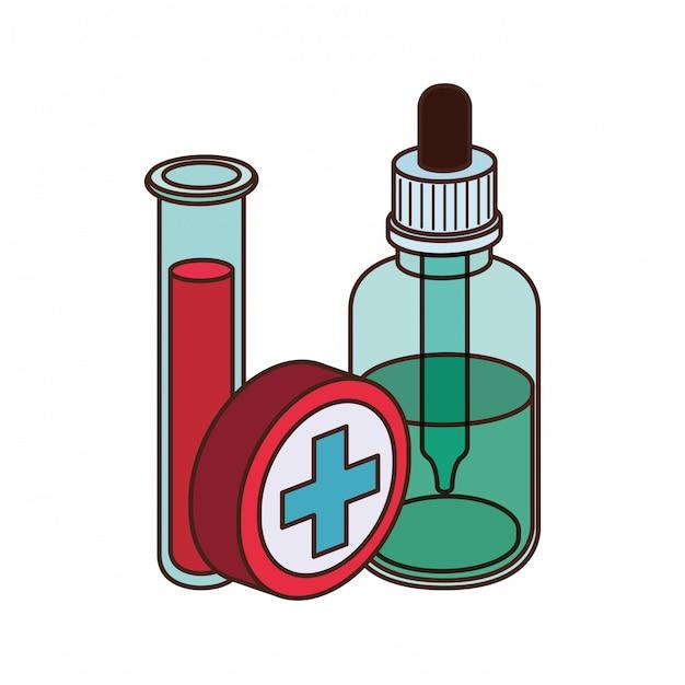 Laboratoriuminstrumenten met medicijnen Premium Vector
