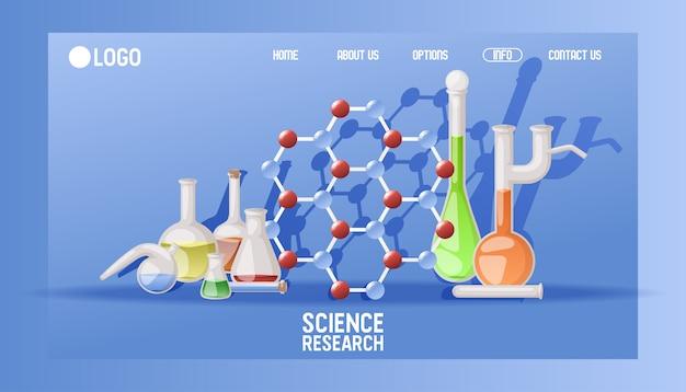 Laboratoriumwetenschappelijk onderzoek bestemmingspagina wetenschappelijk glaswerk voor chemisch onderwijs. medische website experiment apparatuur concept. Premium Vector