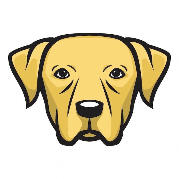 Labrador hoofd hond Premium Vector