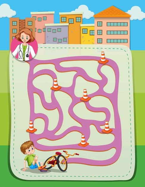 Labyrint sjabloon met arts en jongen Gratis Vector
