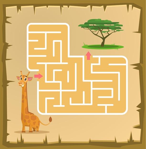 Labyrintspel voor kinderen met giraffe cartoon afbeelding Premium Vector