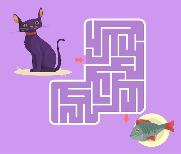 Labyrintspel voor kinderen met kat cartoon afbeelding Premium Vector